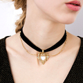 gold plated chain inlay heart pendant fabric chocker necklace fashion accessories for jewelry wholesale china