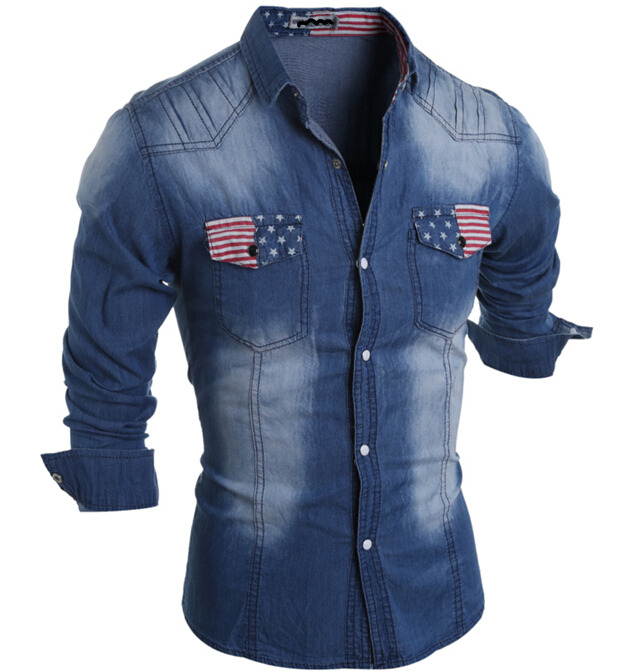 d47510a 2016 fashion men clothing pocket jeans shirts men