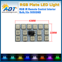 HOT sale!!!RGB 5050 15SMD LED Panel Light For Car Interior Map Dome Door Trunk Light+ 24keys Remote Controller