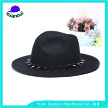 2017 New style rivet short brim party hats faux wool felt black fedora hat mens for sale