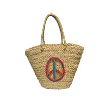 People handmade embroideried peace logo for the straw beach bags