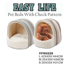 OEM Pet Beds With Check Pattern Comfortable And Warm House For Dog