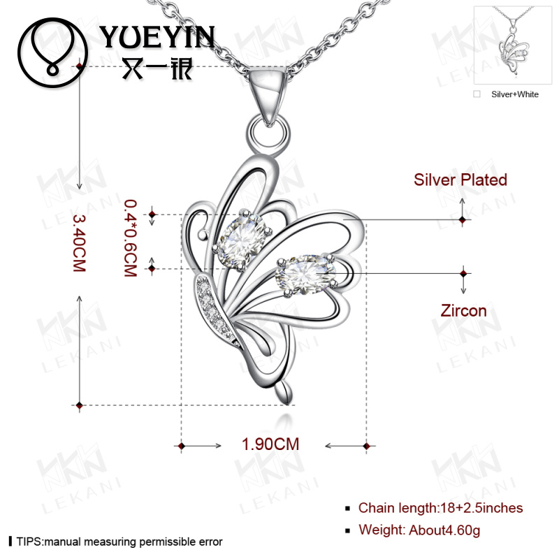 Latest promotion fashion design butterfly shape with multi- zircons silver plated necklace