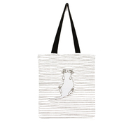 New fashion simple cat fresh custom logo canvas cotton handbag