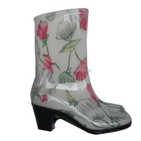 fancy flower print jelly shoes women,OEM heeled PVC rain boots,durable plastic ankle boots