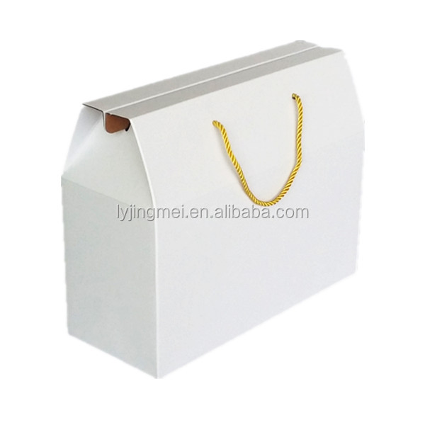 High quality 350gsm white color thick art paper material made paper packing box with pp handle