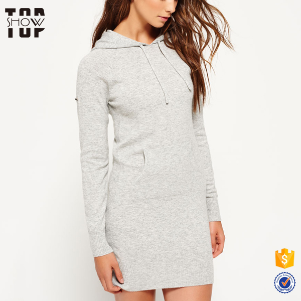 Gold supplier oem knitted hoodie dress women with draw string latest designs for women
