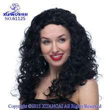 Wholesale 2015 Hot selling long curly shine black new fashion and cheap sales costume hair wigs for young women