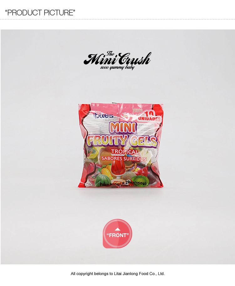 flavoured candy fruit jelly snack in bag