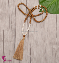 Custom 8mm natural wood stone necklace,howlite mala beads rosary necklace for yoga
