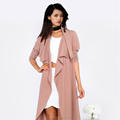 Autumn season Fashion Europe plain dyed long style women jacket