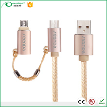 Gift Mirco 2 in 1 usb fast charger cable with type C usb for Mobile phone