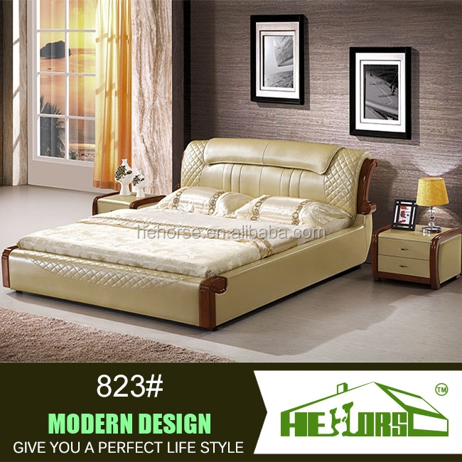 nice design modern leather double bed design furniture 823