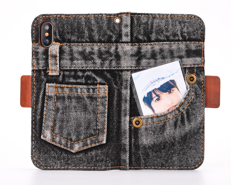 Denim Jeans Pants Trousers Leather Wallet Flip Case for iPhone 10 X , for iPhone X Leather Phone Case