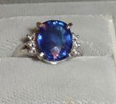 Platinum Ring with 5.56 Carat Blue Sapphire