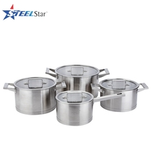 Straight shape 7 pcs high quality #201 stainless steel insulated casseroles with glass lid