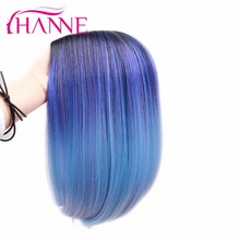 Ombre Blue Color Synthetic Hair Wigs Heat Resistant Straight Hair Short Bob Wigs For African American Women
