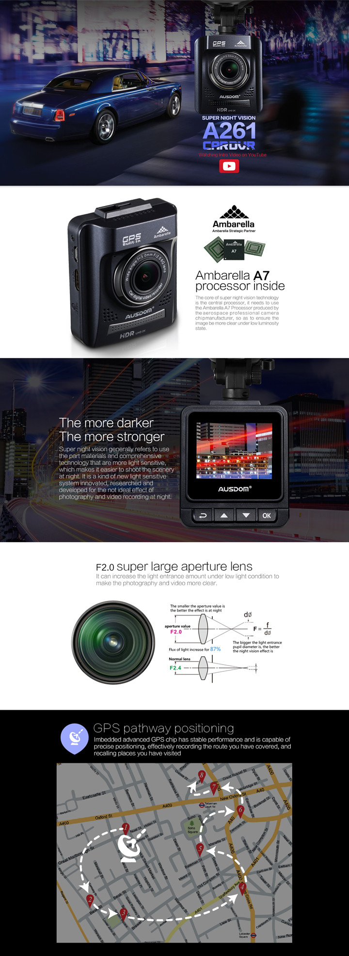 Seamless recording for manual car hd dvr car cam and 1080p car camera dvr video recorder with Image resolution:4.0M