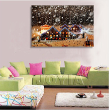 Christmas Wall Art Canvas Winter Landscape LED Canvas Painting for Home Decoration