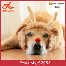 S2952 fashion Christmas funny pets animal crochet knit hats reindeer antlers dog hats