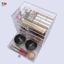 customized cheap acrylic lucite clear cube makeup organizer with drawers
