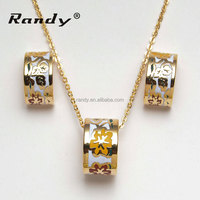 Fancy Jewelry Sets Gold Plated Fine Enamel Earrings Jewellery
