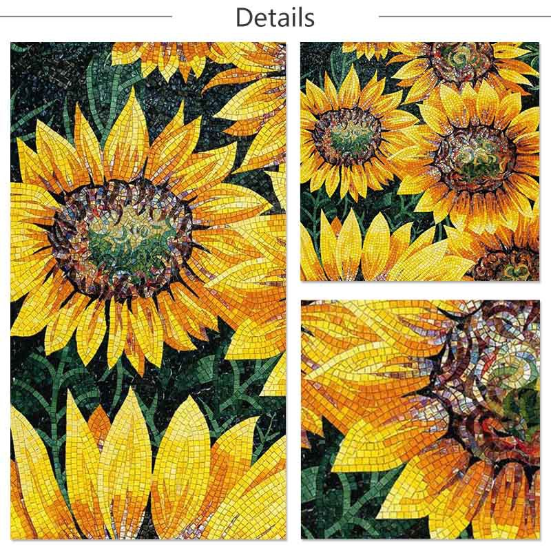Ztclj jy jh s06 c sunflower backsplash tile design for Mural glass painting