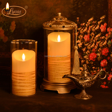 remote control pillar wax 3D moving flame fragrance led candle