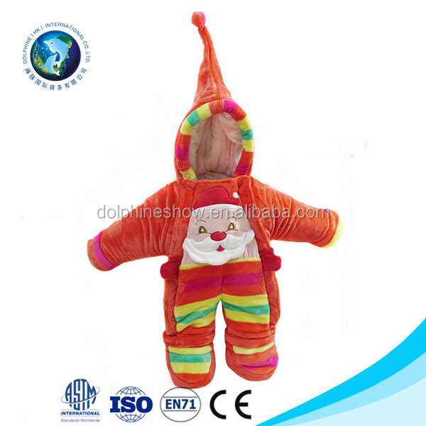 Baby Boy Girl Footie Rompers Soft Fleece Winter Santa Claus Hooded Christmas Coverall