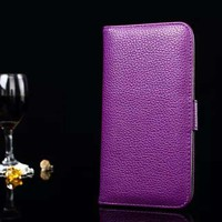 Purple leather case for iphone 5 6 bling wallet case for iphone 6 leather case wallet cover wholesale