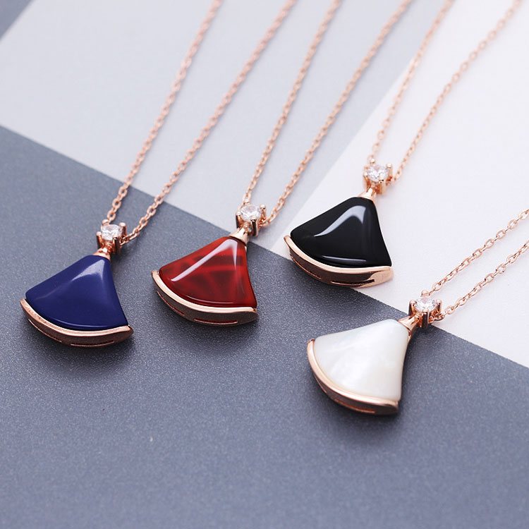2017 fashion 925 sterling silver shell gemstone cute skirt necklace in rose gold