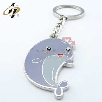 China manufacturer enamel animal custom dolphin metal keychains