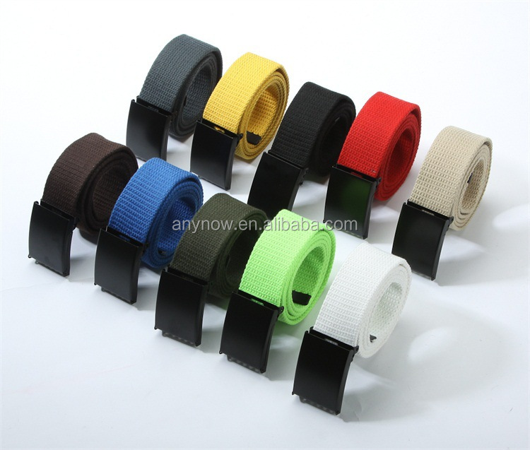 Colorful unisex canvas belt with black adjustable slider buckle