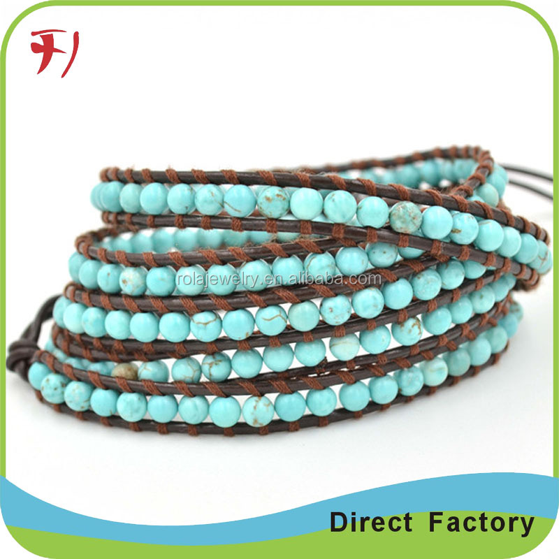 Wholesale nautical multi stands hand made seed bead leather wrap bracelet