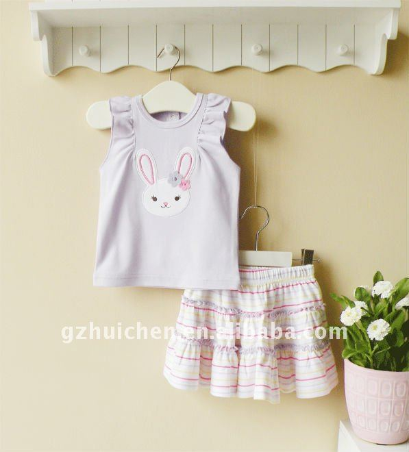2011 summer mom and bab baby clothes set 100% cotton embroider baby girl t-shirt skirt