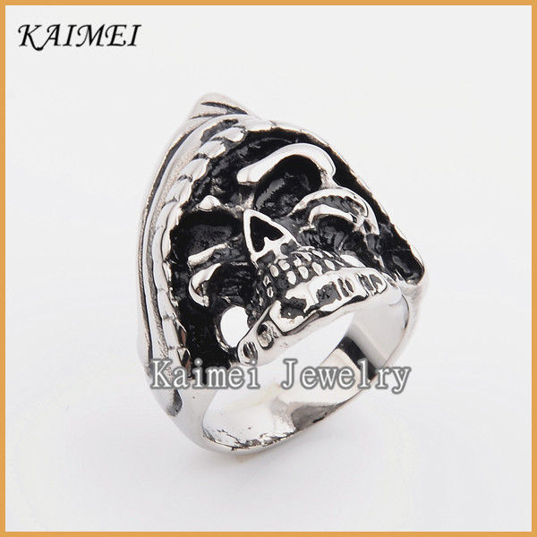 Alibaba China Supplier Casual Style Engraved Metal Tribal Biker Sugar Skull Ring