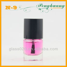 classical round clear glass bottle for nail polish with white cap