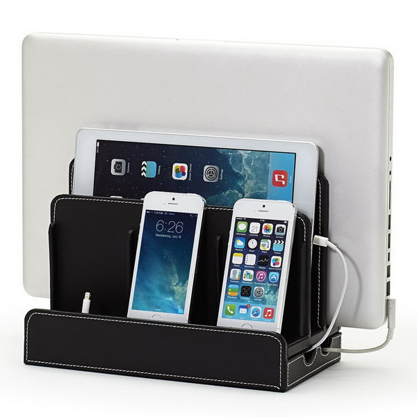 Faux Leather PVC Multi-Charging Pad Support Mobile Phone Charge Station