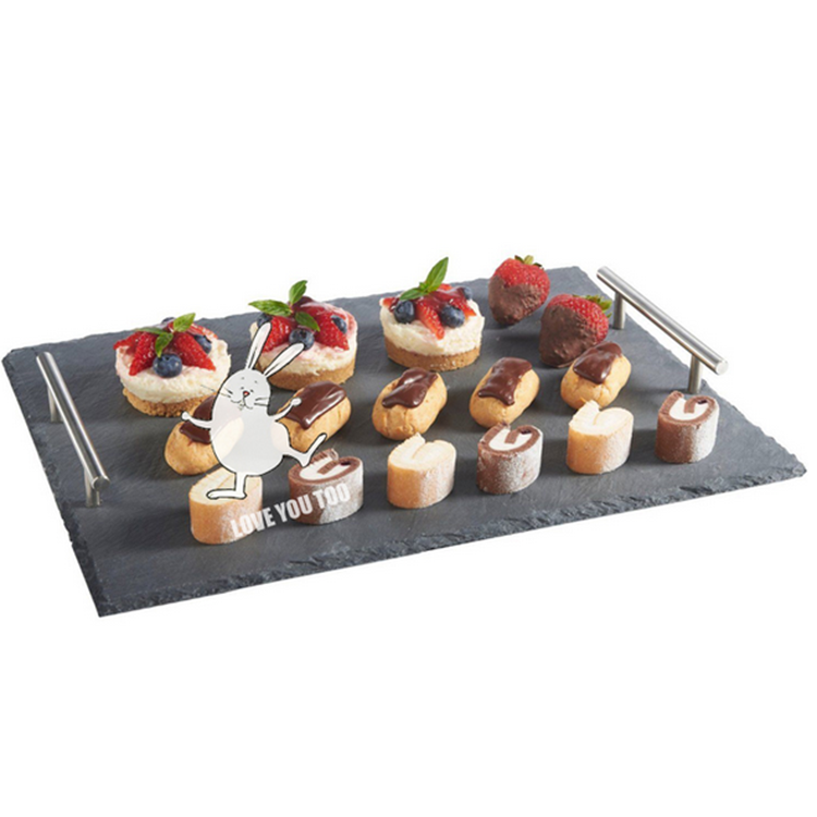Direct Manufactuer Luxury Black Natural Stone Slate Lunch Tray