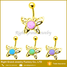 Fashion Opal Name Belly Button Rings Indian Navel Piercing In Stainless Steel Jewelry