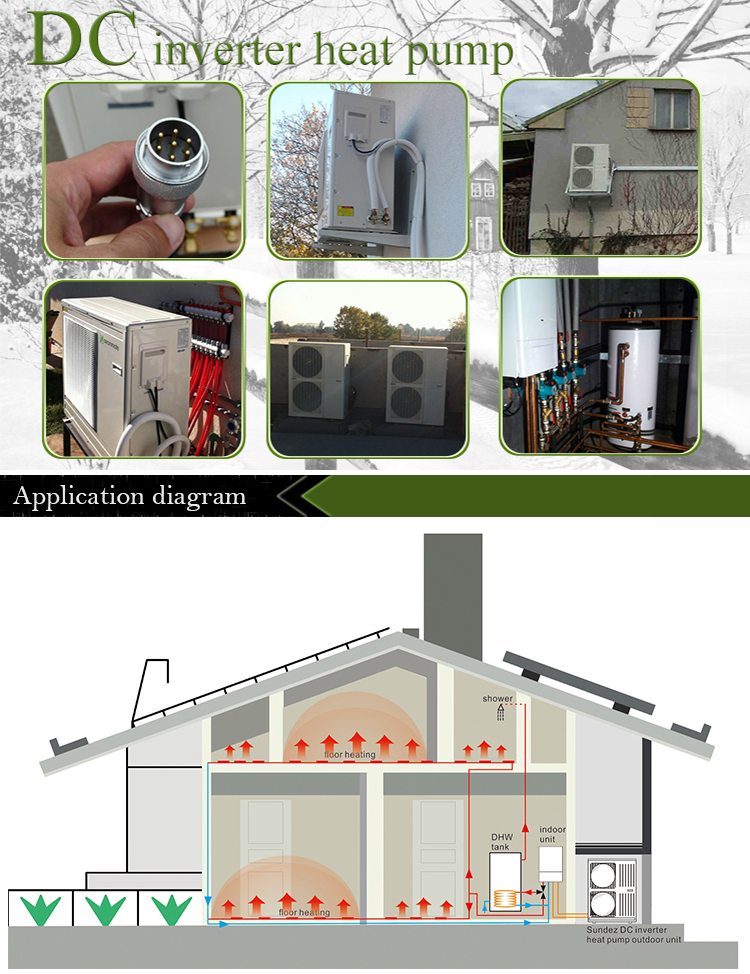 Sundez dc inverter heat pump water heater 9kw to 20kw split