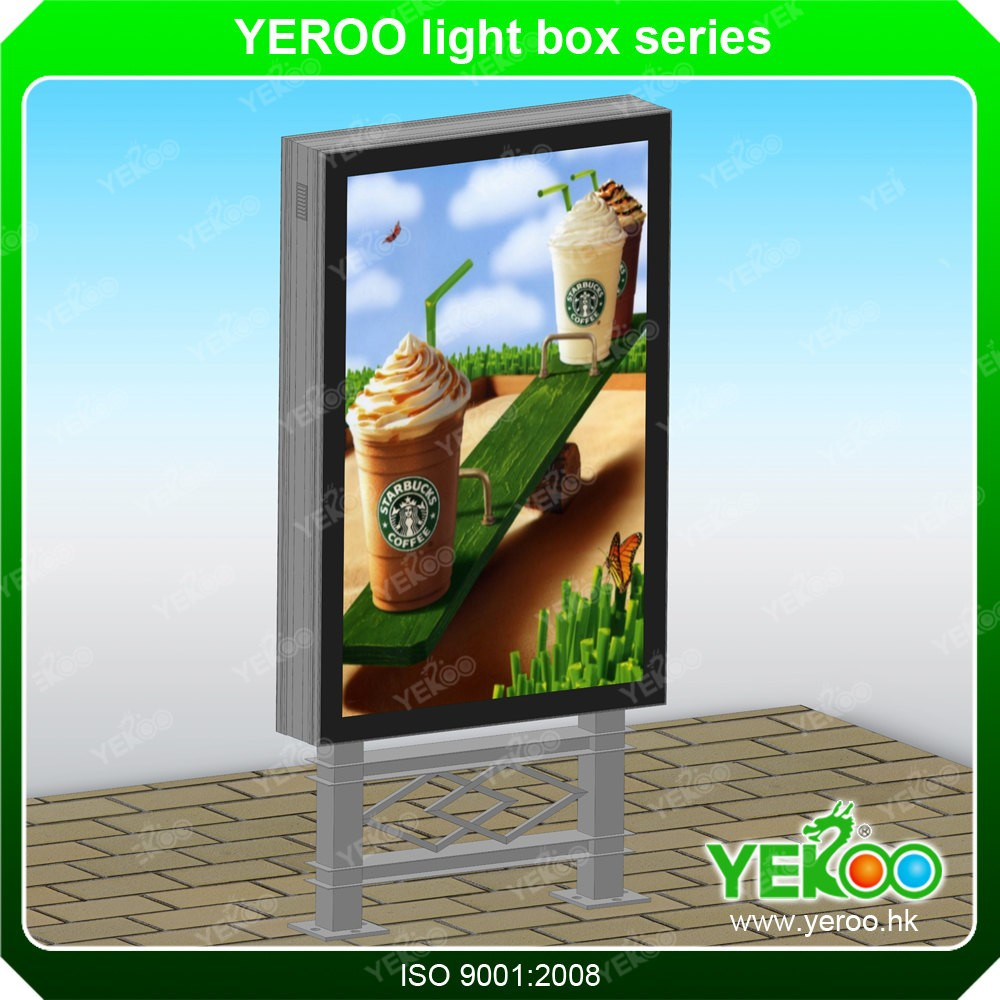 2016 Free standing floor vertical outdoor advertising light box led lightbox display