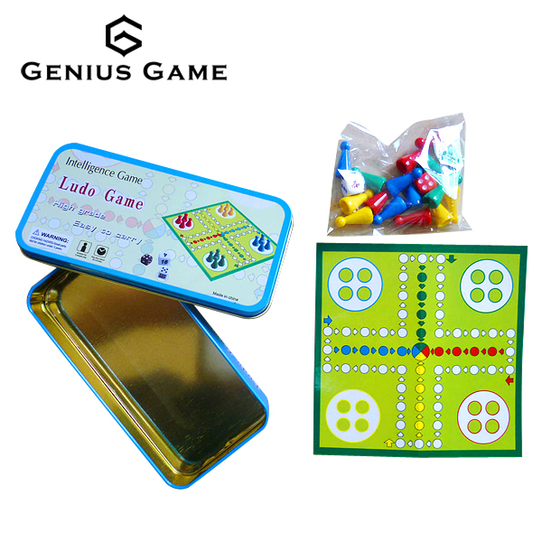 Mini custom travel ludo board game in Tin cage for promotion