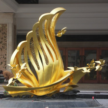 Outdoor contemporary sculpture with real 24k gold