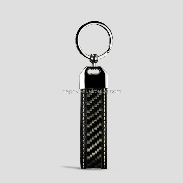 Hot Selling China Supplier High Quality Custom Carbon Fiber Genuiem Leather Keychain with Metal