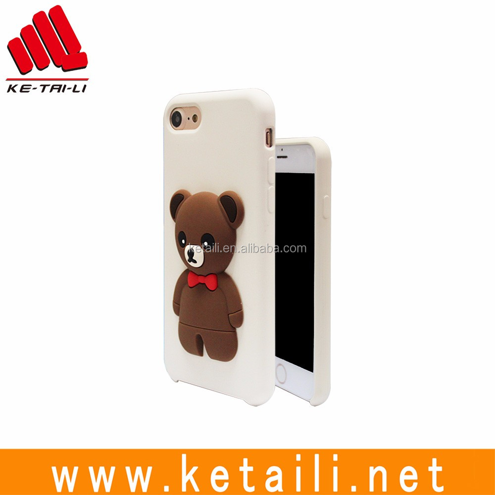Custom molded 3D bear original style post forming silicone plastic mobile phone case cover for iPhone 7 plus