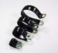 P type black plastic dipped lined hose clips/hose clamps