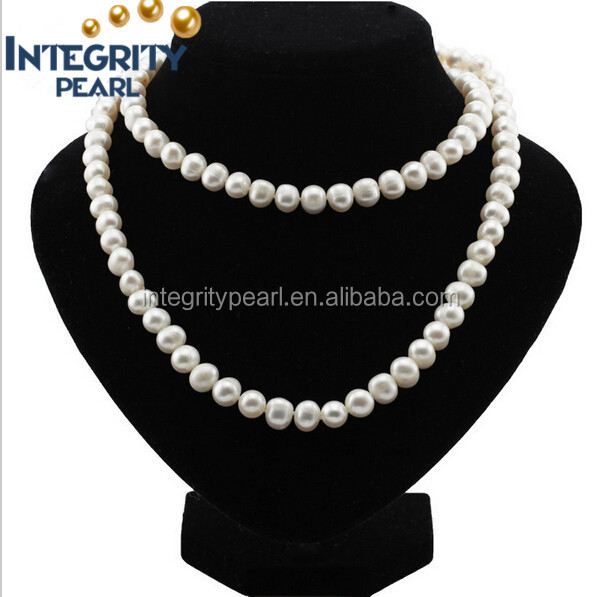 near round shape cultured freshwater pearl necklace
