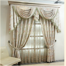 Home textile jacquard custom draperies curtain with valance