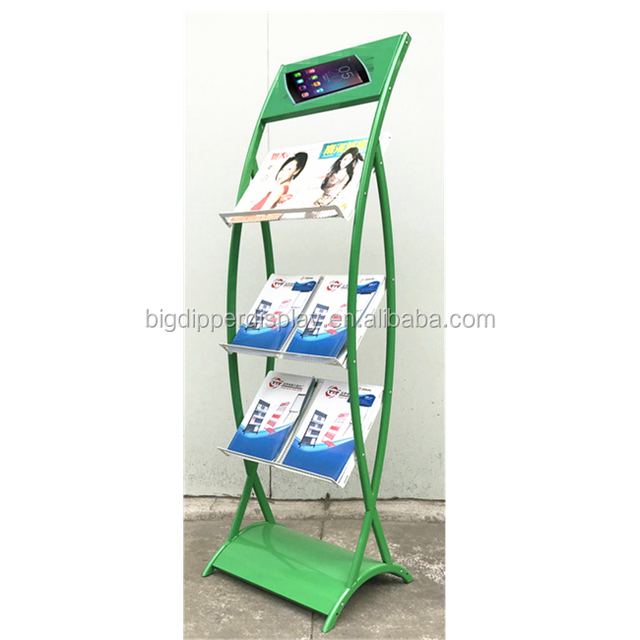 BDD-MA804 Custom free standing metal brochure display racks, brochure holder floor stand, literature racks